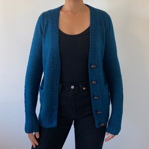 Forever 21 // blue sweater cardigan with pockets